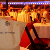 "Catering paper bag ""vegetarian"" on a table at TIPI"