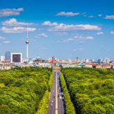 Berlin Skyline with view to the Tiergarten and the Brandenburg Gate and TV Tower