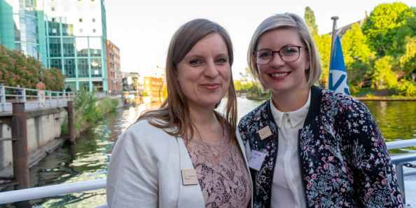 "BCO employees Luisa Mentz and Kyra Gragert at the  Event ""Expert Day 2019 with the topic Sustainability"" on a boat"