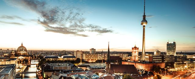 Berlin Convention Office, view of the skyline of Berlin, Nikolaiviertel, at sunset